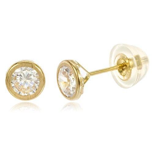 14k Yellow Gold Round Bezel Stud Earrings with Silicone Back (4 Millimeters) (GO-565) - 14k Gold Bezel Stud Earrings