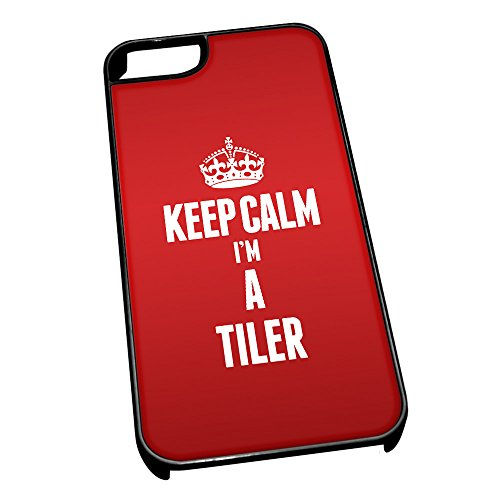 Nero cover per iPhone 5/5S 2693 Red Keep Calm I m A Tiler