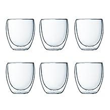 Pavina Double Wall Small Glass, 8-Ounce, Pay 4 Get 6 Bonus Pack