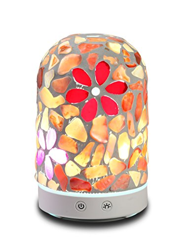 AA Mosaic Glass Flower in Shell Aroma Essential Oil Diffuser Aromatherapy Humidifier 120ml Housing with 14-Color LED Light