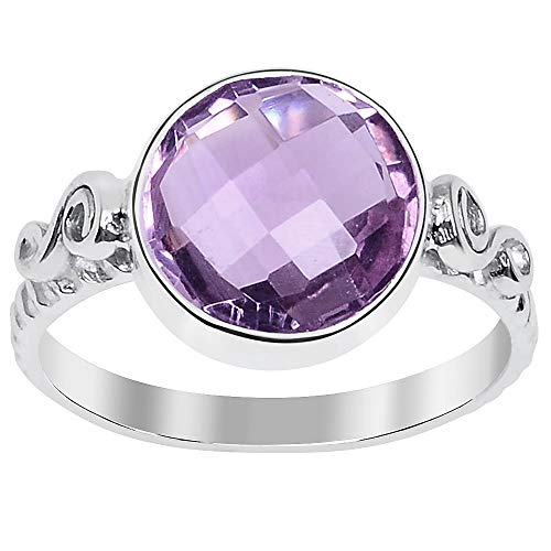 3.15 Ctw Pink Amethyst Stone Rings For Women By Orchid Jewelry: Anniversary & Promise Rings For Women & Her, Purple February Birthstone Wedding Jewelry, Fashion Rings Size 8