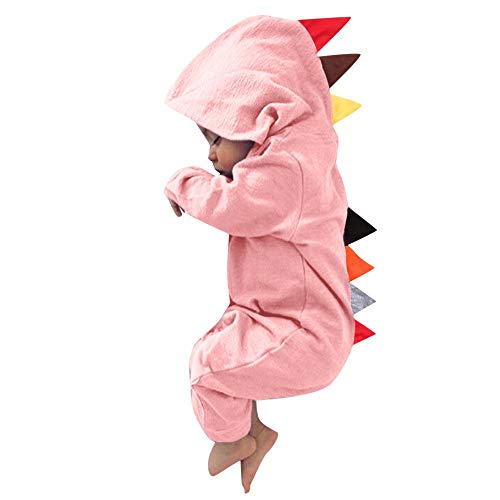 FEITONG Newborn Baby Boys Girls Long Sleeve Dinosaur Zipper Hooded Romper Jumpsuit Outfits(0-6M,Pink) -