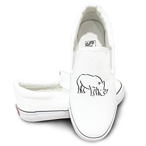 ALIPAPA Custom Men's & Women's Funny African Rhino Nude Shoes White Size 43