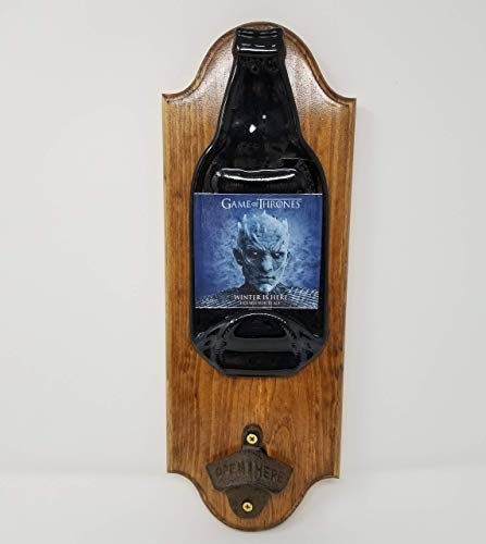 Wall Mount Wood Plaque Bottle Opener - Game of Thrones, Winter is Here, Double Pale Ale - 15