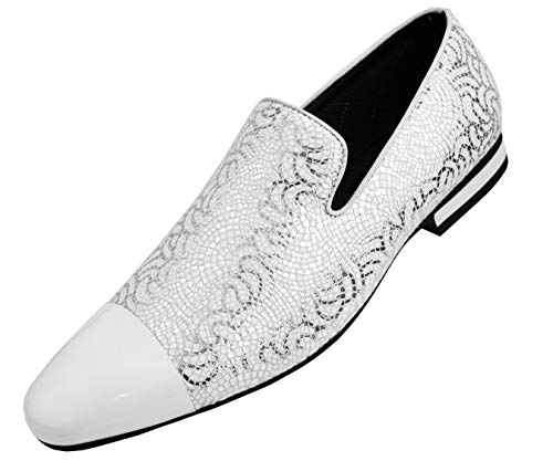 (Amali Men's Metallic Lace Patterned Embossed Slip On Loafer with Matching Tip and Heal Dress Shoe, Style Saray )