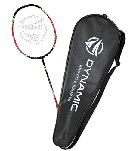 Dynamic Shuttle Sports Titan G-Force 7 Professional Carbon Fiber Badminton Racquet, Lightweight Badminton Racket Including Cover (Red)