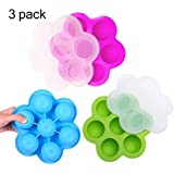 Silicone Egg Bites Molds Large Baby Food Freezer Containers Trays and Ice Cube Trays with Silicone Lids for Instant Pot Accessories, Microwave oven, Refrigerator,3 Pack