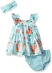 The Children\'s Place Baby Girls\' Tiered Floral Dress and Diaper Cover, Crystalmnt, 0-3MONTHS