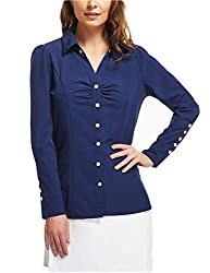 Miss Moly Women S Point Collar V Nect Long Sleeve T Shirt Blouse Tops 18 X Large Navy Blue