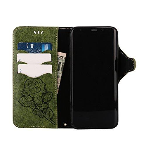 Hülle für Samsung Galaxy S8 Plus,[Nicht für S8] Hülle für Samsung Galaxy S8 Plus Retro Blume Frauen,BtDuck Ultra Slim Tasche Vintage Brieftasche Handyhülle Ledertasche Flip Cover Schutzhülle für Samsu Galaxy S8 Plus-Grün