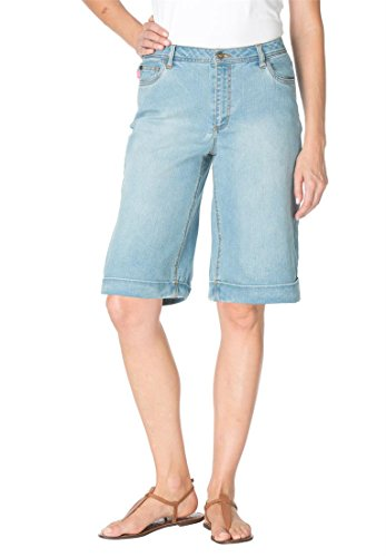 Women's Plus Size Shorts, In Stretch Denim With 5-Pockets And Cuffs (Antique Sanded,16 W)