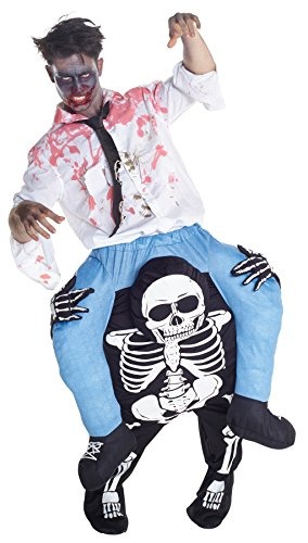 UHC Skeleton Piggyback Outfit Zombie Fancy Dress Halloween Costume, OS (Skeleton Zombie Adult Plus Costumes)