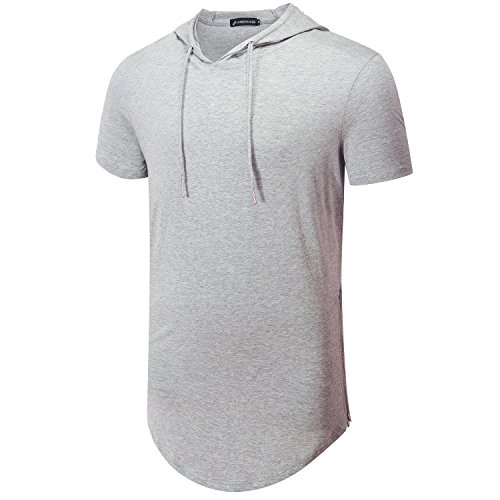 UNRESTRAINED Mens Short Sleeve T Shirt Casual Hoodie Tshirt Gery S - Short Sleeve Hooded Tee