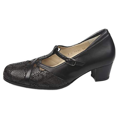 Falcó Zapato Cari De Piel Plantilla Vestir 00034 Extraible Negra Confort 801rn8qd