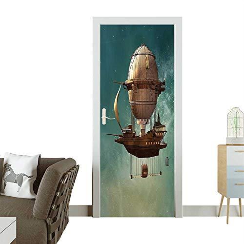 Homesonne Door Decals Sky Scenery Steampunk Airship Sci Fi Stardust Space Image Blue Gold Pressure resistantW38.5 x H79 INCH -