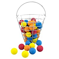 48 Multi-Color, Foam, Golf Ball-Sized, Indoor/Outdoor, Limited Flight, Practice Balls in Metal, Range-Style Bucket
