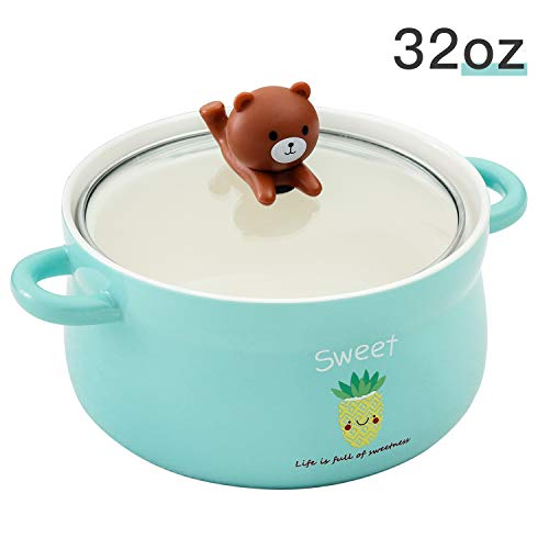 Cute Green Bear 32oz Big Ceramic Bowl with Lid and Handle for Soup/Rice/Salad/Instant/Noodle/Vegetables Fruit(1000m Green Bear) (Best Instant Noodle Bowls)