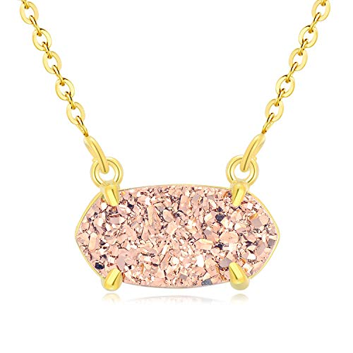Ellena Rose Dainty Druzy Necklace, 100 Percent Natural Druzy, 14K Gold Plated Oval Druzy Pendant Necklace for Women, Druzy Necklaces for Women, Genuine Druzy Jewelry (Champagne)