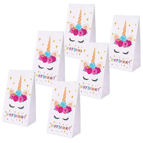 Erosom Unicorn Gifts Bags-Unicorn Paper Bags - Unicorn Birthday Party Supplies - Kids Party Decorations Perfect with Unicorn Cupcake Toppers and Wrappers Pack of 24 -