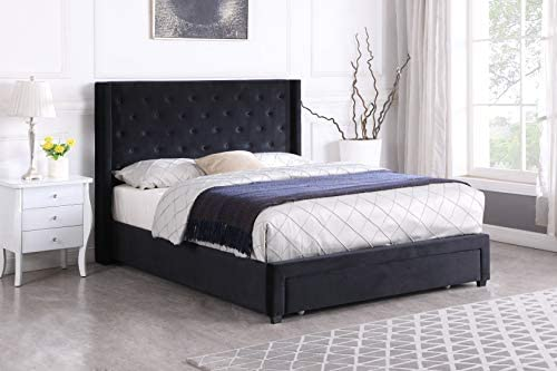 Home Life Drawer Storage Bed Black Velour 51″ Tall Headboard Platform Bed