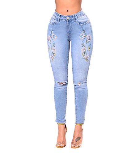 WanYang De Pantalon Taille Pantalons De Broderie Bleu Clair Femmes Mode Extensible Denim Haute Jeans Casual qSRFwr4xq