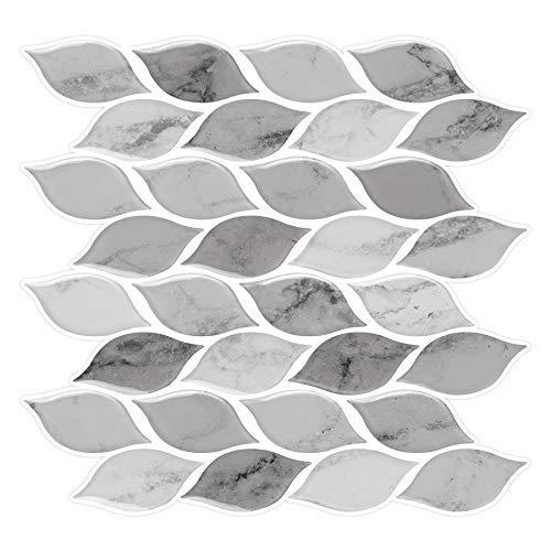 Tic Tac Tiles - Premium Anti Mold Peel and Stick Wall Tile Backsplash in Foglia Design (Grigio, 6)
