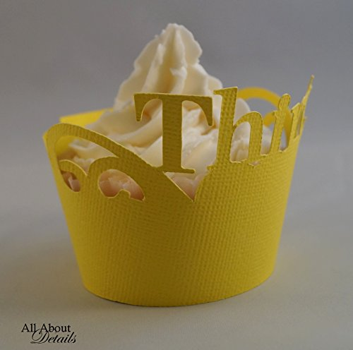 Set of 12 All About Details Yellow Thirty Cupcake Wrappers