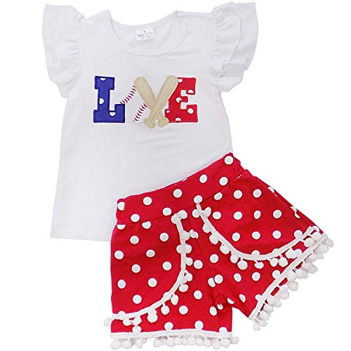 So Sydney Girls Toddler Baseball Summer Dress, Capri Outfit, Baby Bubble Romper (L (5), Love Baseball Pom Shorts)