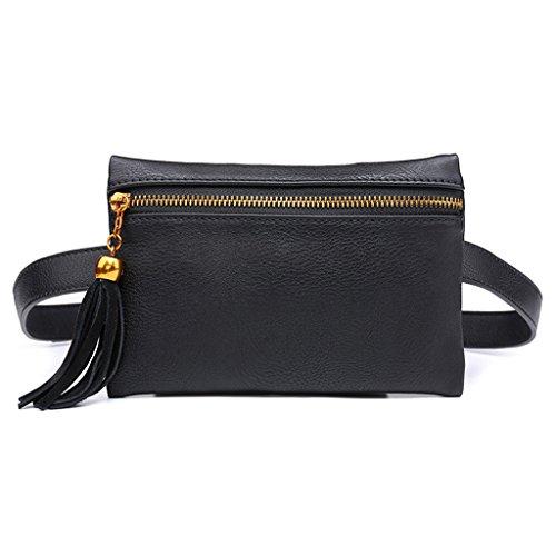 Lamdoo Women Fashion Tassel Waist Pouch Belt Bags Trendy Fanny Pack Travel Wallet Case Black by Lamdoo