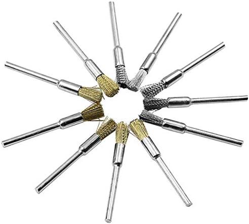 98pcsミニロータリーステンレススチールワイヤーホイールワイヤーブラシスモールワイヤーブラシミニドリルロータリーツール用アクセサリーセット-マルチカラー