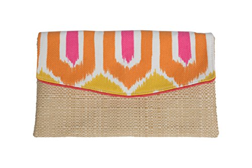 Caught Ya Lookin' Madison Clutch, Pink/Orange Chevron with Hot Pink Piping