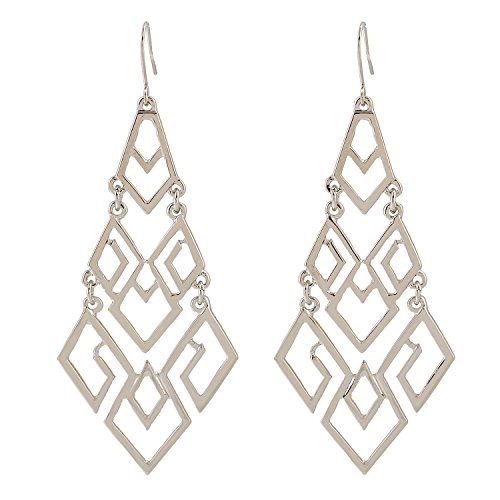 (D EXCEED Women's Chandelier Drop Earrings Gift Wrapped Fashion Gold Cutout Tiered Dangle Drop Earrings Silver)