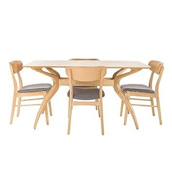 Christopher Knight Home 299330 Leona Mid Century Natural Oak Finish 5 Piece Dining Set Dark Grey ,