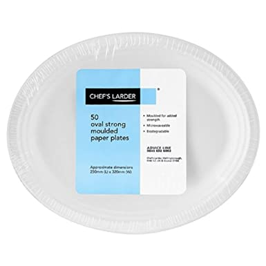 Chef\u0027s Larder 50 Oval Strong Moulded Paper Plates 25mm x 320mm  sc 1 st  Amazon UK & Chef\u0027s Larder 50 Oval Strong Moulded Paper Plates 25mm x 320mm ...