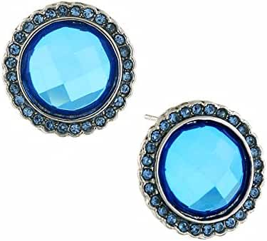 Silver Tone Blue Round Button Post Earrings