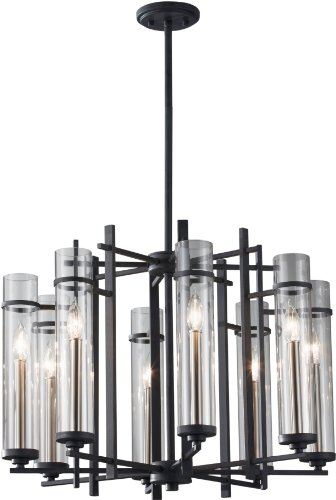 Feiss F2628/8AF/BS Ethan Glass Candle Chandelier Lighting, Iron, 8-Light (26