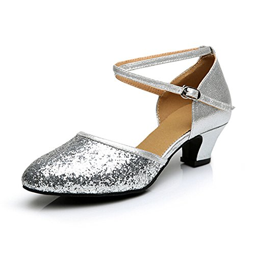 Shoes 3 Low Rubber Silver Kitten Ballroom Straps Women's Practice Toe Cross Heel Closed Heel Latin 5 Sole Sequins ZqtS4wP
