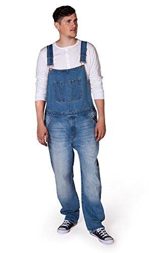 USKEES Christopher Men's Denim Bib Overalls W30 32 34 36 38 40 Pale Wash Blue