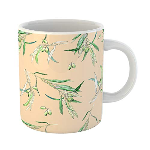 Emvency Funny Coffee Mug Green Abstract Olives Watercolor Beautiful for Pages Pattern on Yellow White 11 Oz Ceramic Coffee Mug Tea Cup Best Gift Or Souvenir -