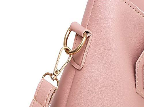 Donna 3 Di Stile Pink LUCKYCCDD Set Cerniera Da Con Tracolla A Blue Similpelle Casual Borse In qfw1qXBE