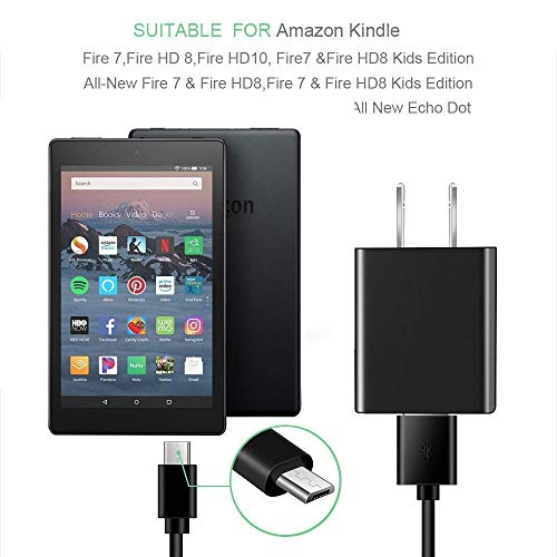 "Kindle Fire Fast Charger, (UL Listed) AC Adapter 2A Rapid Charger with 6.5 Ft Micro USB Cable Compatible with Fire 7 8 10 Tablet, HDX 6"" 7"" 8.9"" 9.7"" and Phone, Tab Power Supply Cord"