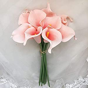 Lily Garden Mini 15″ Artificial Calla Lily 10 Stem Flower Bouquets (Peach and Coral)