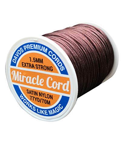 1.5mm Satin Nylon Cord Necklace Jewelry Making Beading Braided Thread Soft Shiny Silky String Super Strong Rattail Macrame Sewing (Brown, 77 Yards) Brown Satin Necklace Cord