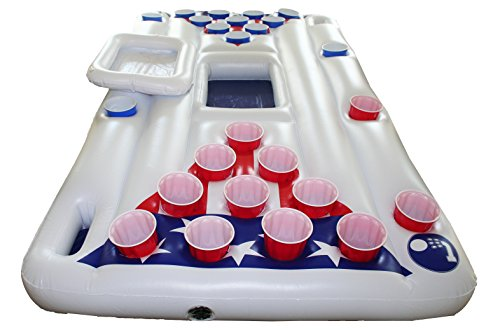 Inflatable Pool Party Barge Floating Beer Pong Table with Cooler, White, 6-Feet, Includes 5 Ping Pong Balls - Floating Pool Party Game Raft and Lounge