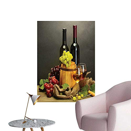Wall Stickers for Living Room Barrel Bottl and Glass Wine Ripe GRAP Wooden Table Ative Picture Vinyl Wall Stickers Print,24