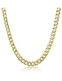 Men's 10k Yellow Gold 8.8mm Curb Link Chain Necklace, 20""
