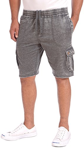 (Point Zero French Terry Burnout Men's Casual Cotton Shorts (Black, XL) )