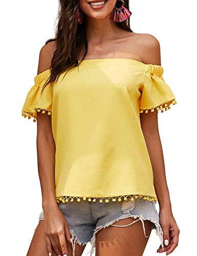 CILKOO Womens Casual Short Sleeve Off Shoulder Tube T-Shirt Pop Pop Trim Tassel Work Office Shirt Blouses Yellow US4-6 Small - Maternity Ruffle Trim Tops