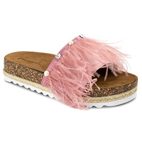 RF ROOM OF FASHION Fur Feather Band Slide On Espadrille Platform Sandals Pink - Pink Sandal Jeweled
