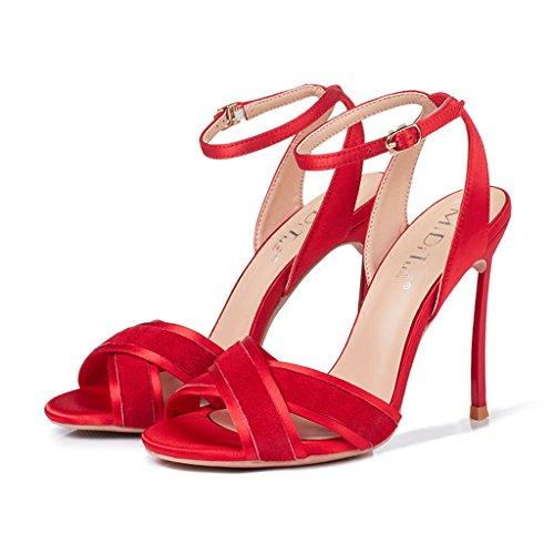 Alto Hebilla 8cm con Cruz Femeninas Tacón Sandalias de Rojo Wild una con tw0q46C